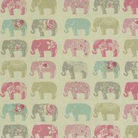 Clarke & Clarke Baumwollstoff Elefanten Pastell rosa türkis grau
