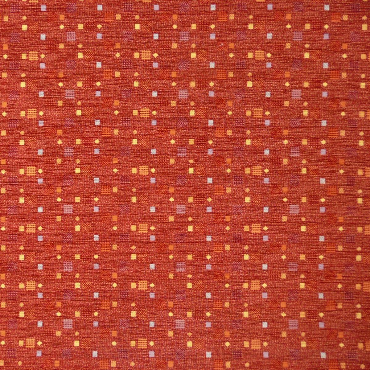 Möbelstoff Bezugsstoff WALSUM rot mit Kästchen