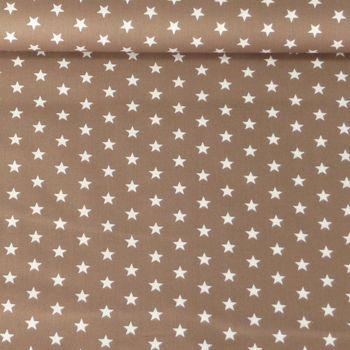 Baumwollstoff Sterne braun weiß