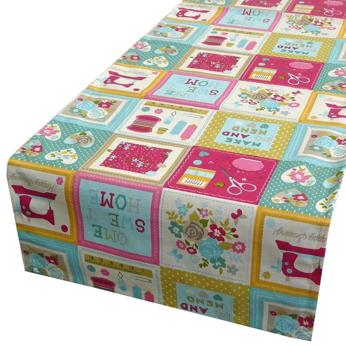 sch ner leben tischl ufer patchwork n hutensilien craftwork 40x160cm wohntextilien tischw sche. Black Bedroom Furniture Sets. Home Design Ideas