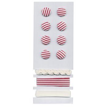Rayher Set 8 Knöpfe 3 Bänder Streifen rot weiß