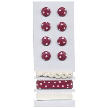 Rayher Set 8 Knöpfe 3 Bänder Sterne rot weiß