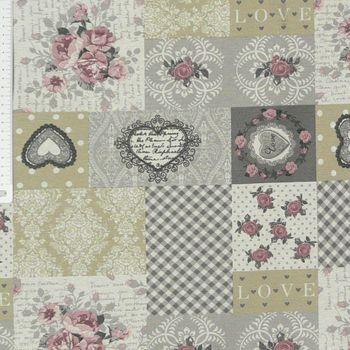 Dekostoff Baumwollstoff Patchwork Rosen romantisch grau beige rosa – Bild 1