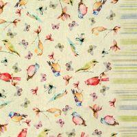 Dekostoff Baumwollstoff Vögel Pastelltöne mit Rand Streifen 1,60m Breite 001