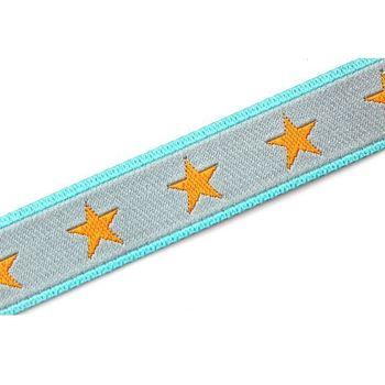 Farbenmix Webband Sterneband grau orange Breite: 1,2cm