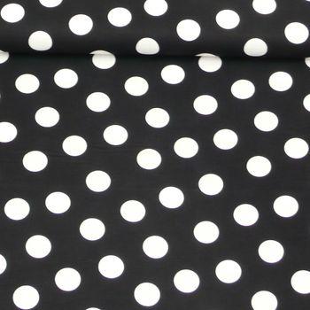 Baumwollstoff Punkte groß 2,5cm schwarz weiß 1,40m Breite