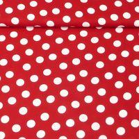 Baumwollstoff Punkte groß 2,5cm rot weiß 1,40m Breite