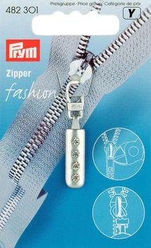 Prym  Zipper silber mit Glitzersteinen Lägen: 4,5cm