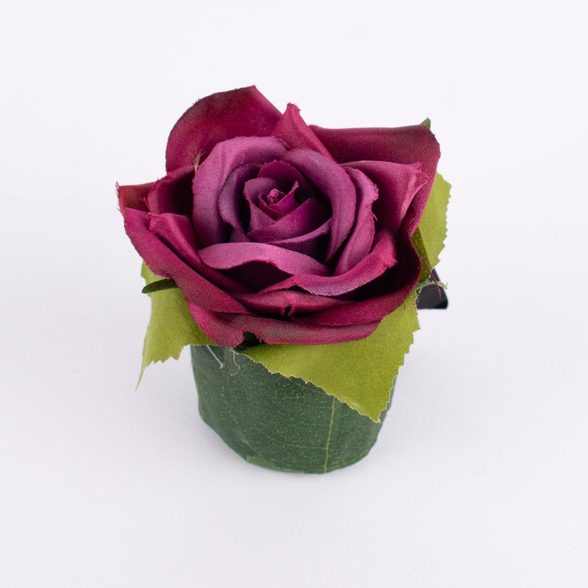 Kunstblume Rose mit Blätter im Topf lila beere 7,5x4,5cm