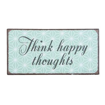 Clayre & Eef Magnet Think happy thoughts 10x5cm
