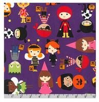 Robert Kaufman Baumwollstoff Pumpkin Fun Halloween Kinder lila 001