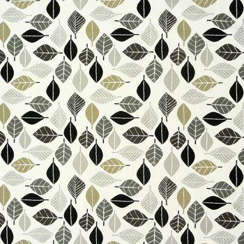 Dekostoff Blätter weiß grau khaki 137cm – Bild 1