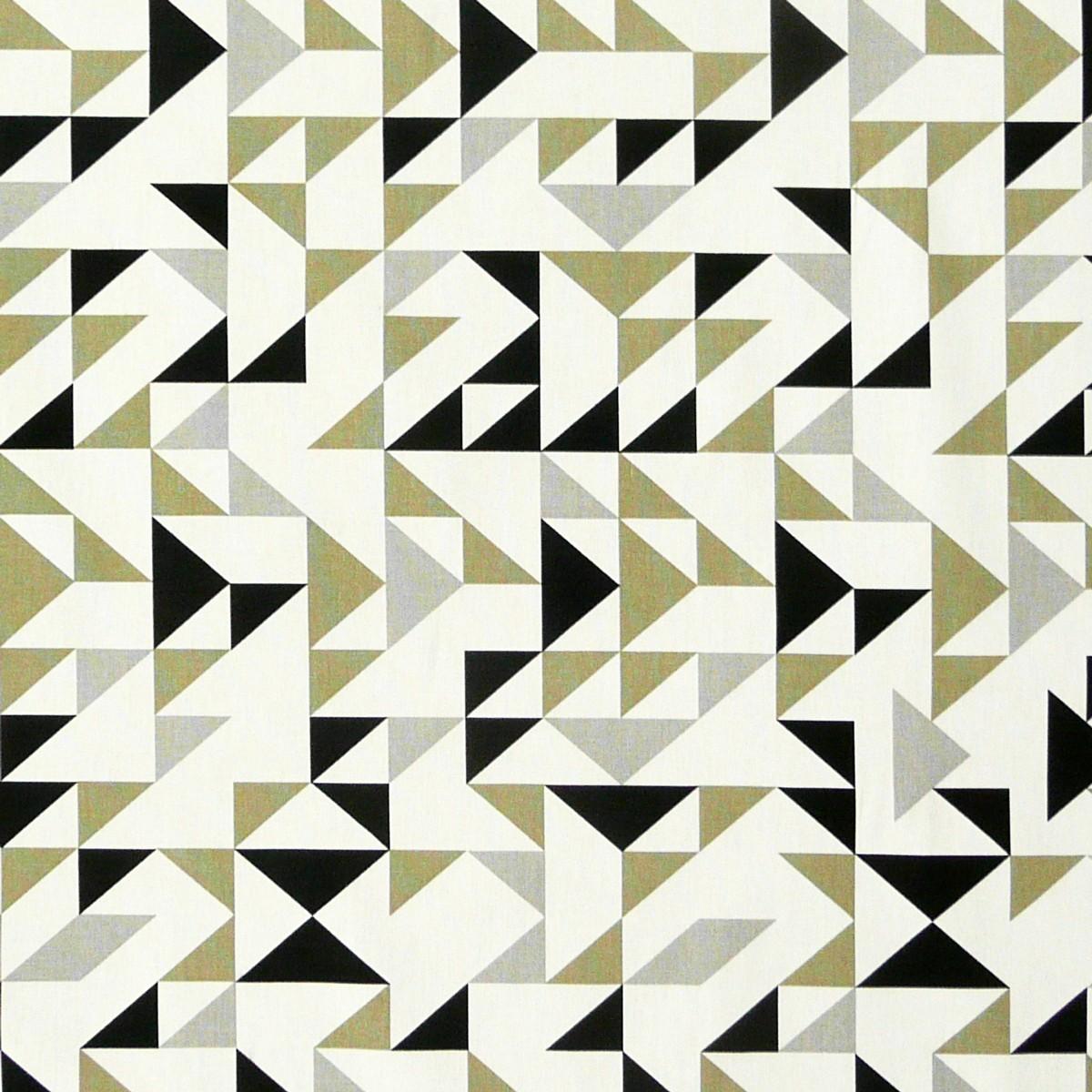 Dekostoff Dreiecke weiß grau khaki schwarz 137cm