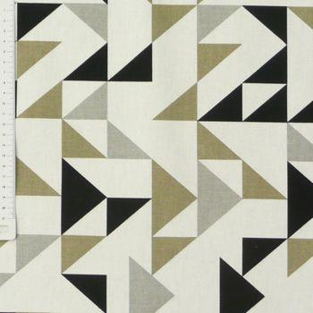 Dekostoff Dreiecke weiß grau khaki schwarz 137cm – Bild 2