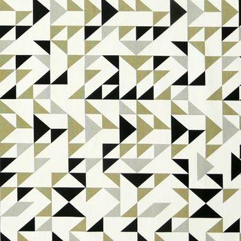 Dekostoff Dreiecke weiß grau khaki schwarz 137cm – Bild 1