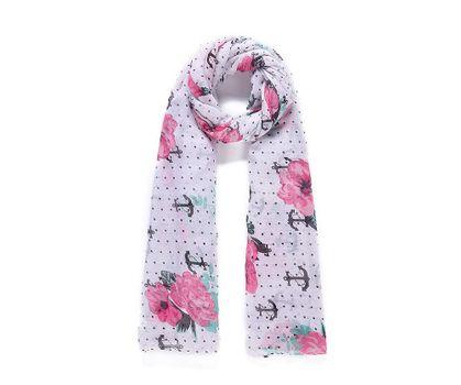 Schal Tuch Blumen-Anker-Muster rosa weiß 90x180cm – Bild 1