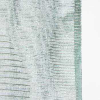 Fertigvorhang Ösenschal mit Metallösen Geschwungen türkis weiß 145x245cm – Bild 4