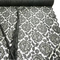 Bekleidungsstoff Elastische Spitze Blumen mit Wellen Abschluss beidseitig schwarz 001