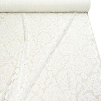 Bekleidungsstoff Elastische Spitze Blumen mit Wellen Abschluss beidseitig weiß – Bild 1