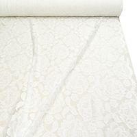 Bekleidungsstoff Elastische Spitze Blumen mit Wellen Abschluss beidseitig weiß