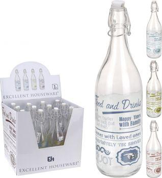 Dekoflasche Glas mit Hebelverschluss und Schrift 31x7cm