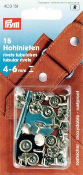 Prym Hohlnieten Ø9mm silberfarbig 15 Stück