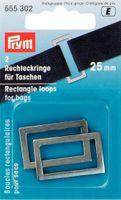 Prym 2 Rechteckringe für Taschen alt-silberfarbig 25mm 001