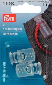 Prym 2 Kordelstopper 1-Loch transparent 2 Stück