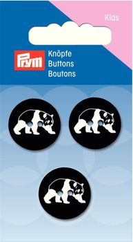 Prym Kinder Knopf Knöpfe Panda schwarz weiß 20mm 3 Stück