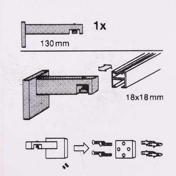 Serie London Wandträger 1-Lauf lang für eckige Profilstange 18x18mm edelstahl-optik – Bild 6