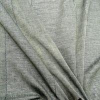 Gardinenstoff Leinenoptik grau Längsstreifen silberfarbig 1,5m Breite