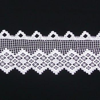 Borte Spitzenborte weiß mit kleinen Rauten Meterware B:15cm