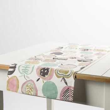 Schöner Leben Tischläufer Äpfel weiß petrol rosa 40x160cm