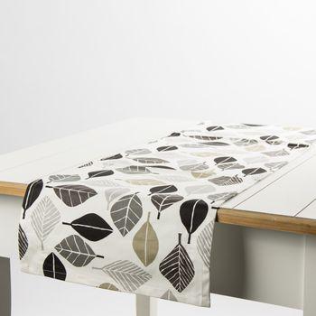 Schöner Leben Tischläufer Blätter weiß grau khaki 40x160cm – Bild 1