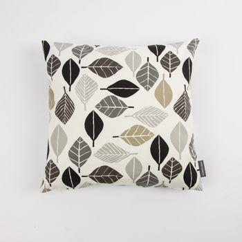 Schöner Leben Kissenhülle Blätter weiß grau khaki 50x50cm – Bild 2
