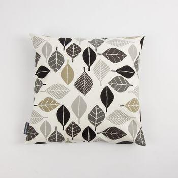 Schöner Leben Kissenhülle Blätter weiß grau khaki 50x50cm – Bild 1