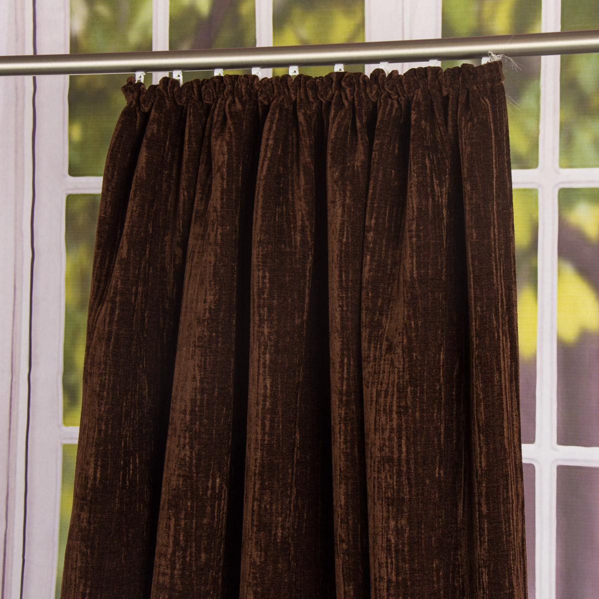 thermo chenille fertigvorhang k lteschutz schallschutz verdunkelung braun 145x245cm gardinen. Black Bedroom Furniture Sets. Home Design Ideas