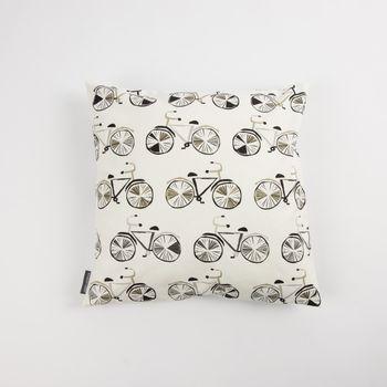 Schöner Leben Kissenhülle Fahrrad weiß schwarz grau 50x50cm – Bild 1