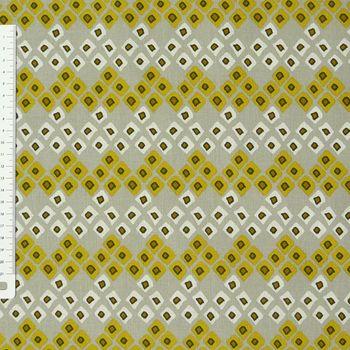 Baumwollstoff Dozali Vierecke grau gelb weiß – Bild 1