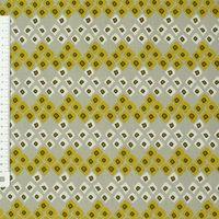 Baumwollstoff Dozali Vierecke grau gelb weiß 001
