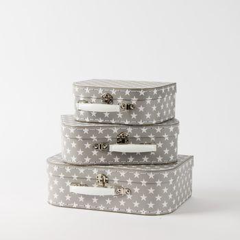 Koffer Kofferset Sterne grau weiß 3teilig
