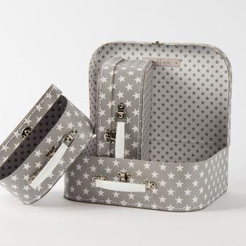 Koffer Kofferset Sterne grau weiß 3teilig – Bild 2