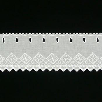 Scheibengardine Batist mit Rauten Stickerei weiß 17cm hoch