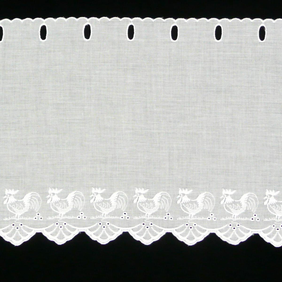 Scheibengardine Baumwolle Scheibengardine Baumwolle And: Scheibengardine Batist Mit Stickerei Hühner Weiß 27cm Hoch