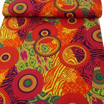 Polyester Retro 60er Jahre orange pink bunt 1,5m Breite