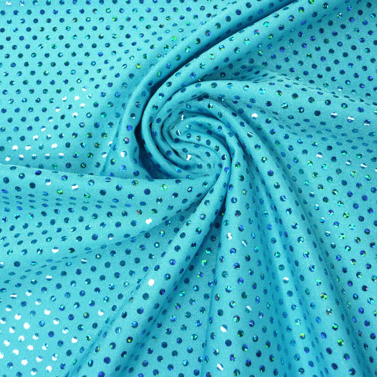 Nylonstoff elastisch uni mit Pailletten türkis 1,5m Breite