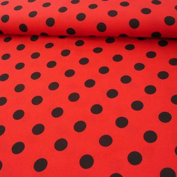 Polyester Punkte groß rot schwarz 1,5m Breite
