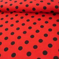 Polyester Punkte groß rot schwarz 1,5m Breite 001