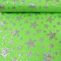 Pailletten Stoff Sterne grün silberfarbig 1,5m Breite 001