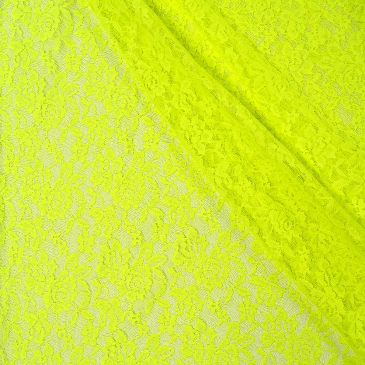 Bekleidungsstoff Elastische Spitze Spitzenstoff neon gelb 1,5m Breite